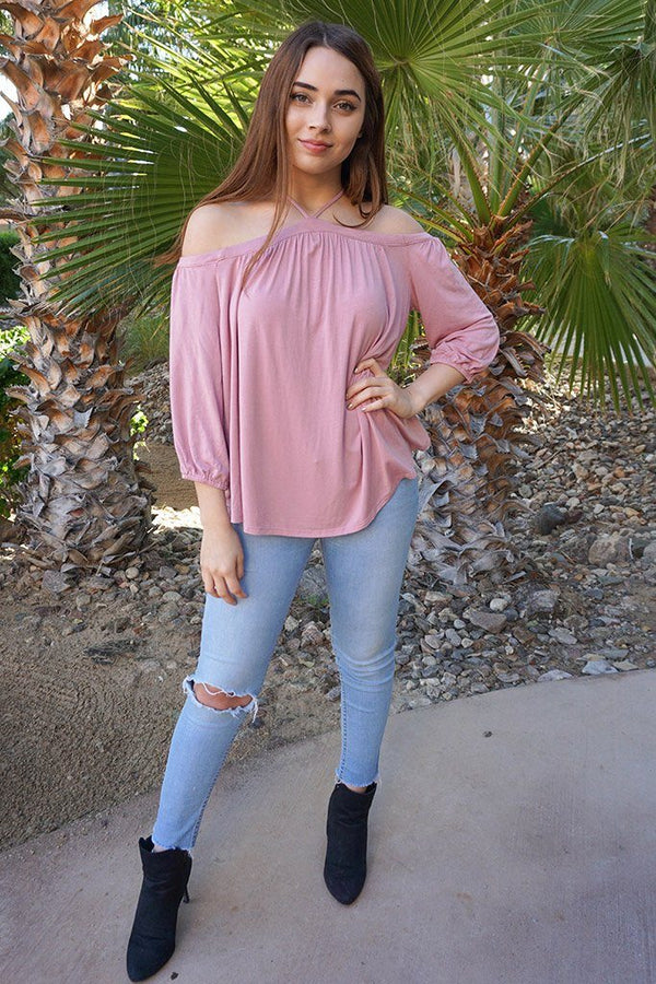Sing It Now Mauve Spaghetti Strap Cold Shoulder Top 3