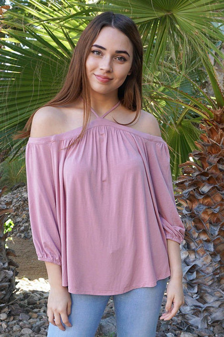Sing It Now Mauve Spaghetti Strap Cold Shoulder Top 1