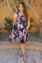 Singing At Sunset Blue Floral Print Sleeveless Dress 1