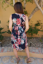 Singing At Sunset Blue Floral Print Sleeveless Dress 3