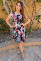 Singing At Sunset Blue Floral Print Sleeveless Dress 4