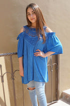 Slay It With Me Blue Cold Shoulder Lace Tunic Top 4