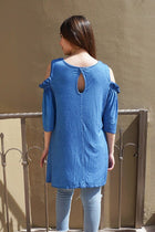 Slay It With Me Blue Cold Shoulder Lace Tunic Top 3