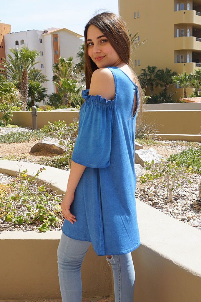 Slay It With Me Blue Cold Shoulder Lace Tunic Top 2