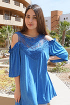 Slay It With Me Blue Cold Shoulder Lace Tunic Top 1
