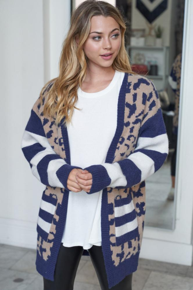 So Delightful Navy Long Cardigan Sweater 4