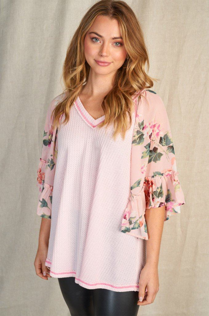 So In Love Pink Floral Waffle Knit Top 1
