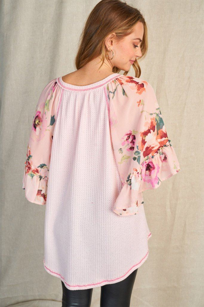 So In Love Pink Floral Waffle Knit Top 2
