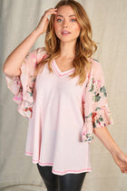 So In Love Pink Floral Waffle Knit Top 3