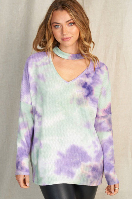 So Irresistible Tie Dye Print Mock Neck Cut Out Top 1