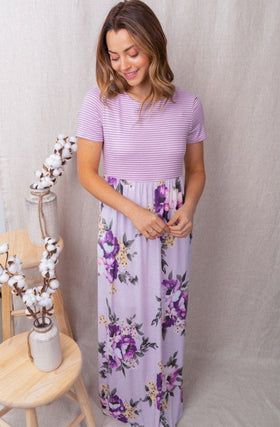 Spring Is Here Lilac Stripe Floral Print Maxi Dress 1