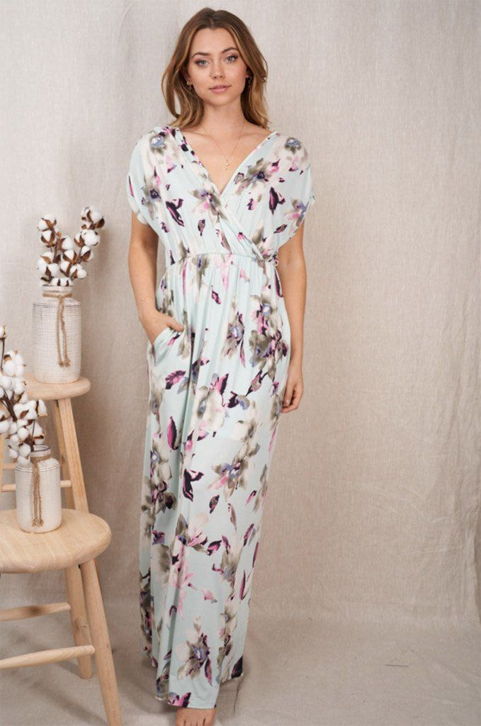 Spring Is Here Mint Floral Print Maxi Dress 1