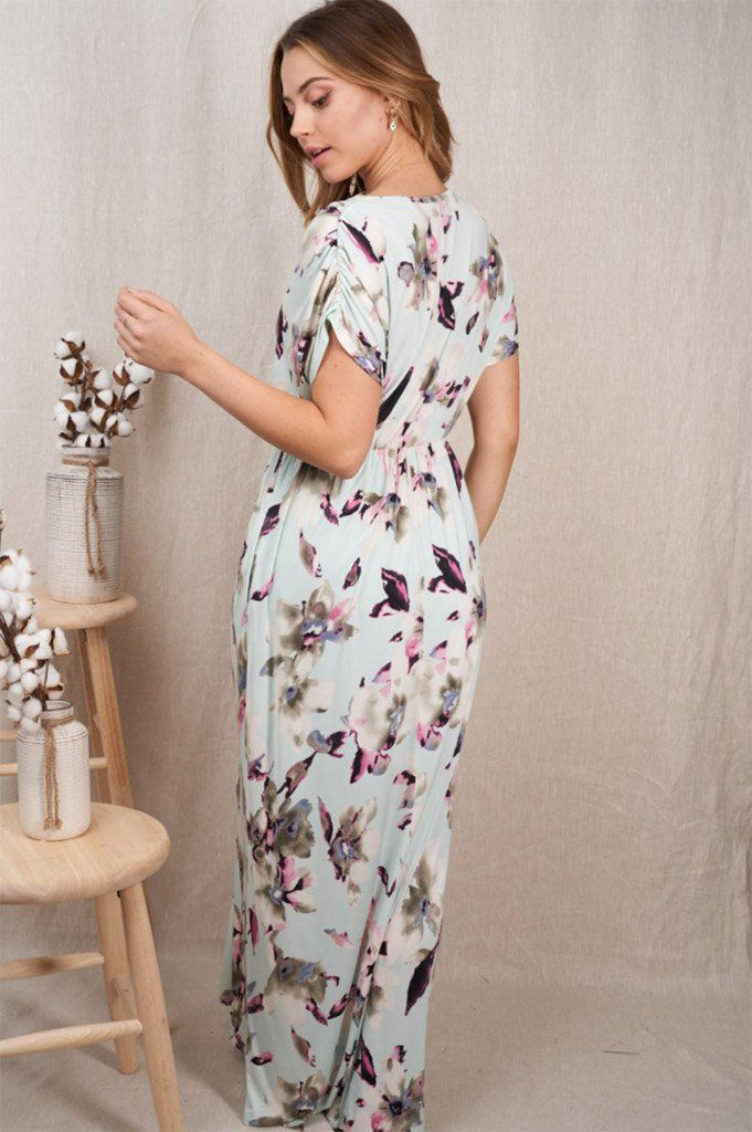 Spring Is Here Mint Floral Print Maxi Dress 2