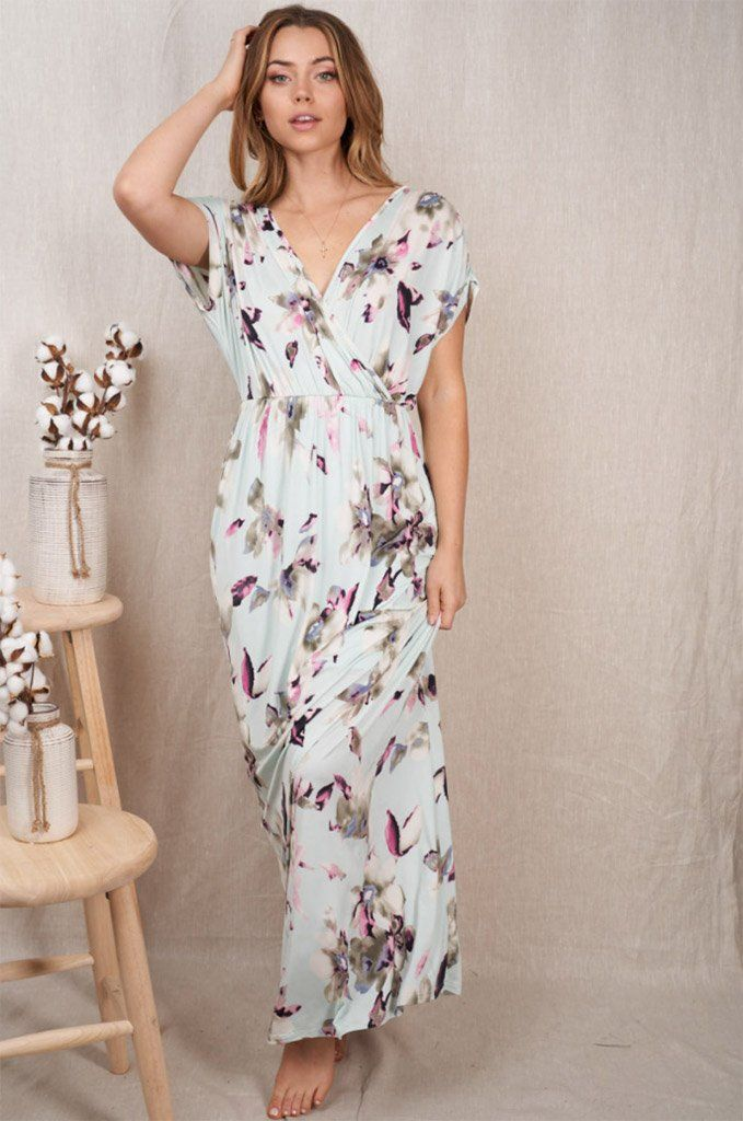 Spring Is Here Mint Floral Print Maxi Dress 3
