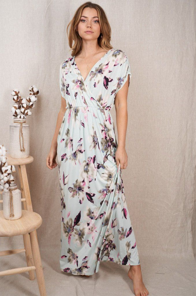 Spring Is Here Mint Floral Print Maxi Dress