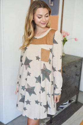 Star Of My Eye Taupe Camo Star Print Dress 1