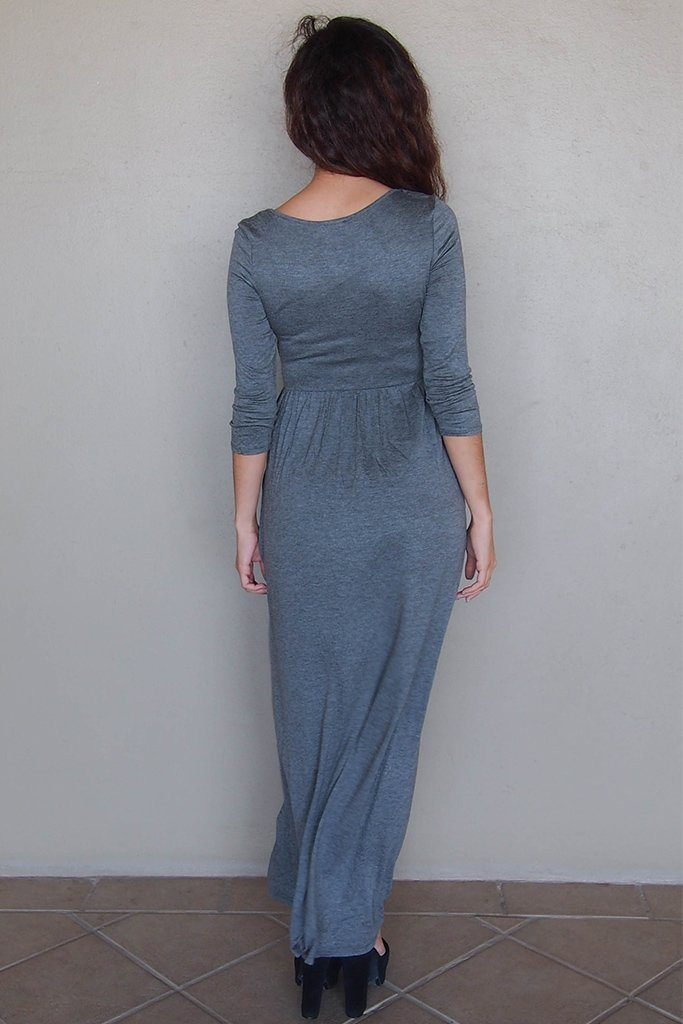 Stay In Style Charcoal Grey Long Sleeve Maxi Dress 3