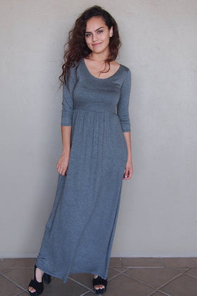 Stay In Style Charcoal Grey Long Sleeve Maxi Dress 1