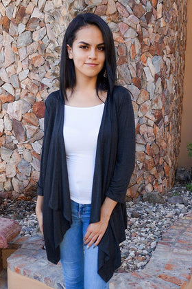 Flowing Open Cardi - Chic Grey Lightweight Cardigan - $28