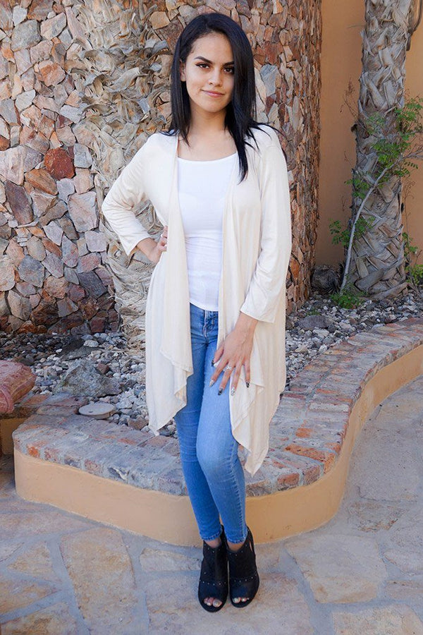 Staying Cozy Cream Long Sleeve Cardigan Sweater 4