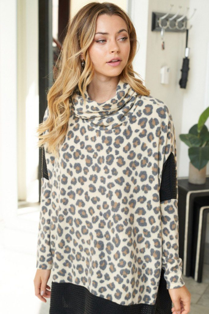 Steady As She Roars Cheetah Print Turtleneck Sweater 4