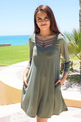 Steal Your Attention Olive Green Cutout Swing Dress 1