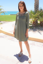 Steal Your Attention Olive Green Cutout Swing Dress 4
