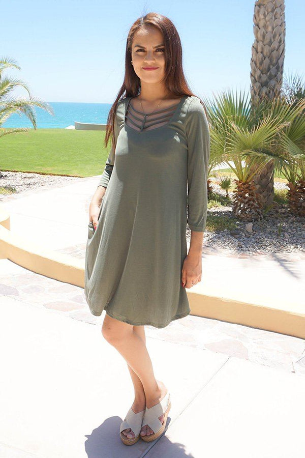 Steal Your Attention Olive Green Cutout Swing Dress 3