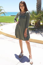 Steal Your Attention Olive Green Cutout Swing Dress 2