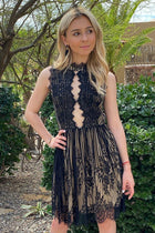 Still The One Black Eyelash Lace Midi Dress 1