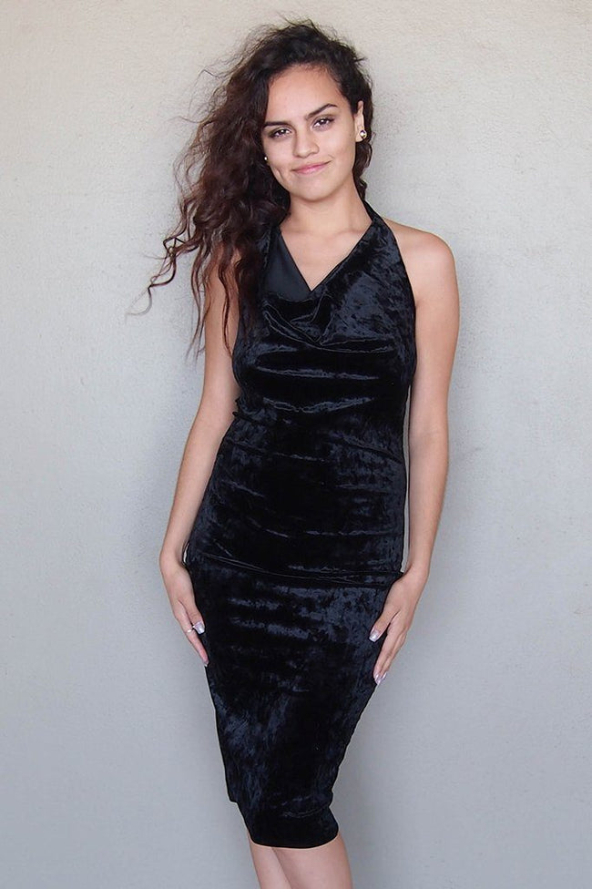 Stunning Black Velvet Halter Bodycon Backless Midi Dress 1