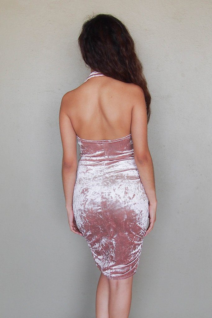 Stunning Pink Velvet Halter Bodycon Backless Midi Dress 3