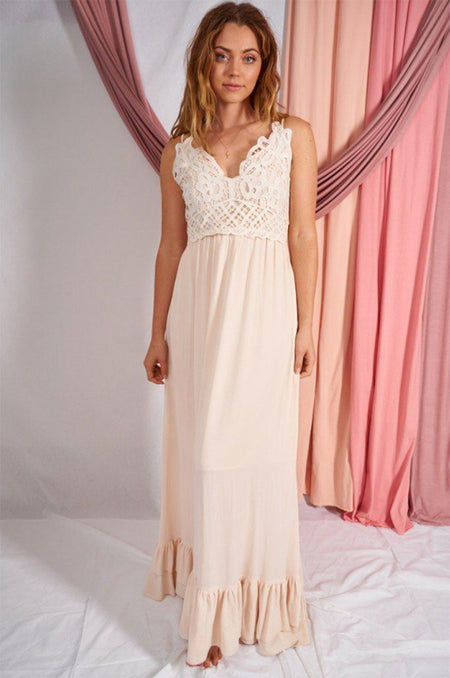 Stunning Sight Cream Lace Maxi Dress 1