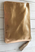 Stylish Metallic Rose Gold Zip Top Tassel Clutch 4