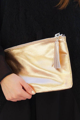Stylish Metallic Rose Gold Zip Top Tassel Clutch 1
