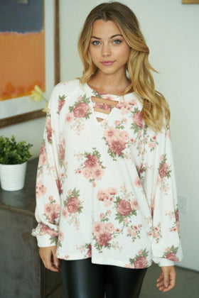 Subtle Romance Ivory Floral Print Cut Out Top 1