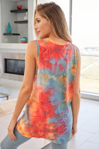 Summer Fling Orange Multi Tie Dye Tank Top 2