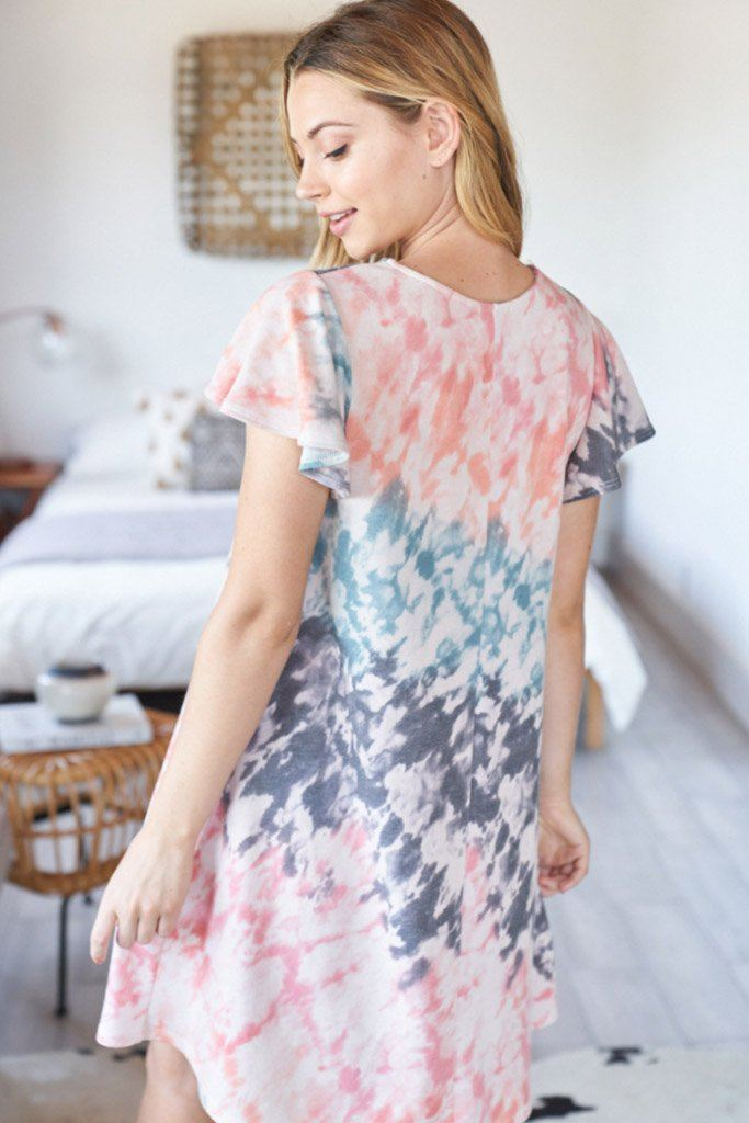 Summer In Love Coral Multi Tie Dye Dress 2