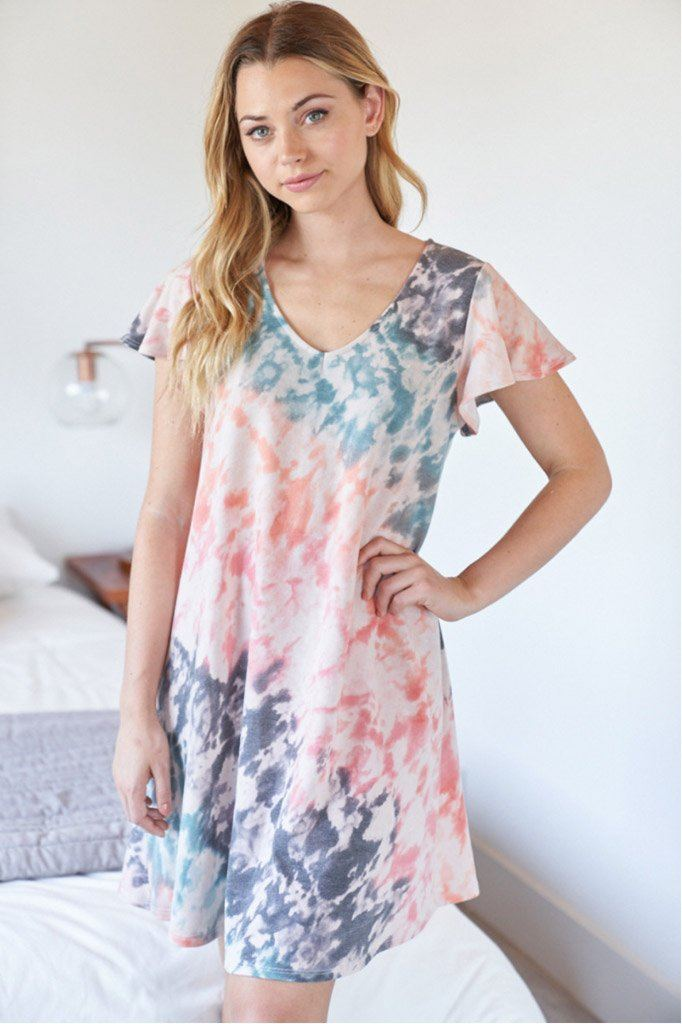 Summer In Love Coral Multi Tie Dye Dress 4