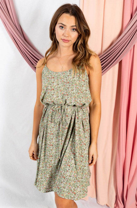 Sunny-Breeze-Sleeveless-Sage-Green-Floral-Dress- 1