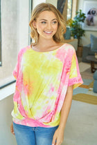 Sunny Disposition Yellow Multi Tie Dye Short Sleeve Top 3