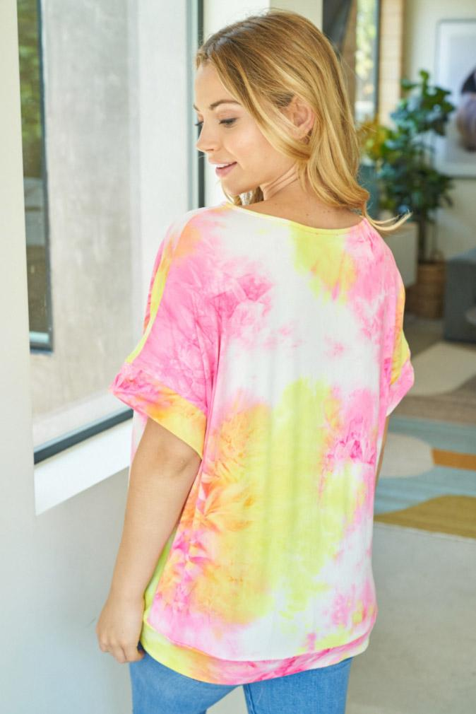 Sunny Disposition Yellow Multi Tie Dye Short Sleeve Top 2
