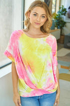 Sunny Disposition Yellow Multi Tie Dye Short Sleeve Top 1