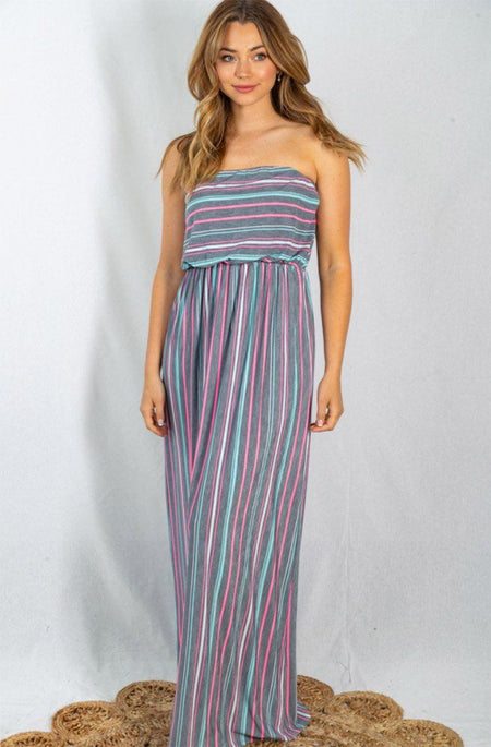 Sunny Resort Grey And Multi Striped Strapless Maxi Dress 1