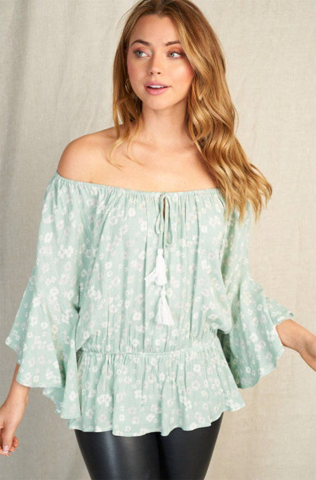 Sunny Story Mint Floral Off The Shoulder Top 1