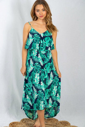 Sway In The Breeze Tropical Leaf Print Maxi Dress 1