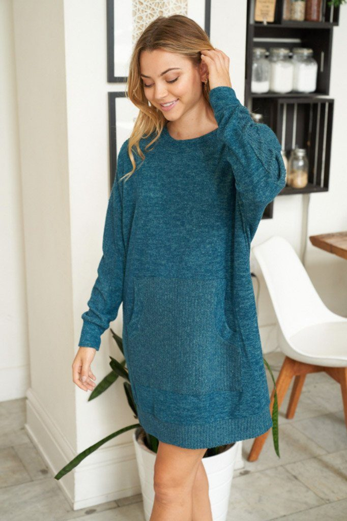 Sweet Comfort Teal Green Long Sleeve Sweater Dress 3