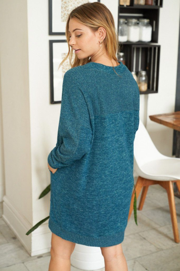 Sweet Comfort Teal Green Long Sleeve Sweater Dress 2