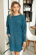 Sweet Comfort Teal Green Long Sleeve Sweater Dress 1