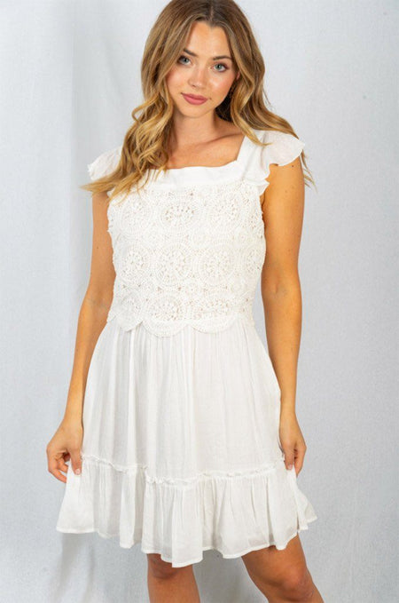 Sweet Emotions Off White Crochet Lace Skater Dress 1
